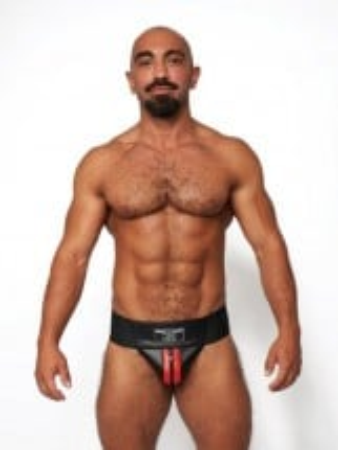 Jocksy Mister B Leather Premium Jockstrap čierno-červené