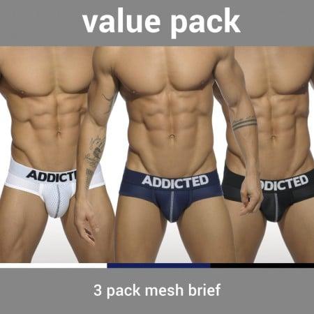 Addicted AD475P 3 Pack Mesh Brief Push Up