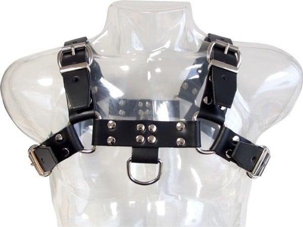 Kožený postroj Mister B Chest Harness Saddle Leather čierny